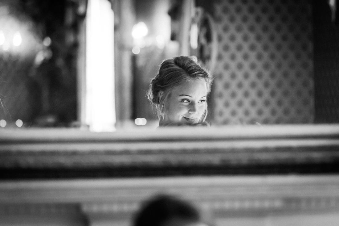 Bridesmaid through a mirror